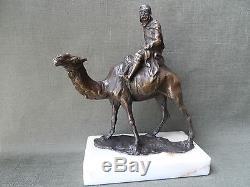 Mehariste Soldier Statue Bronze Dore L. Carven Deco Orient Desert Camel Sculpture