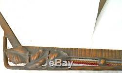 Mirror Art Deco Wrought-iron Hammered Bronze Patina. Edgar Brandt Style 60 CM H