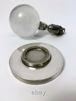 Modernist Crystal Ball Nickeled Crystal Ball Lamp Jacques Adnet Baccarat