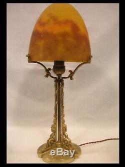 Muller Brothers Big Light Gilt Bronze Paste Glass Art Deco Lamp