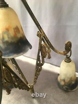 Muller Frees Nancy Golden Bronze Chandelier With Four Art Deco/art Nouveau Lights