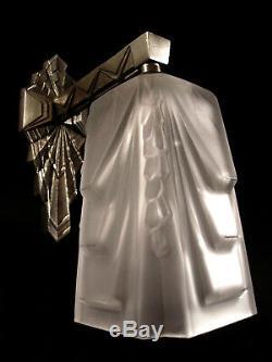 Muller Freres Art Deco Modernist Lamp Nickel Bronze Pressed Glass Tulip