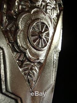 Muller Freres Dappliques Pair Art Deco Bronze Pressed Glass Nickel & Tulips