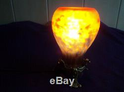 Muller Lamp Era Daum Art Deco Glass Paste, New Bronze Foot