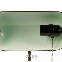 Office Lamp Banquier Ancient Bronze Notary Art Deco Opaline Green Vintage XX