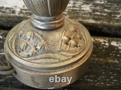 Old 1900-30 Chromed Bronze Lamp Foot Muguette Decoration, Muller, Daum
