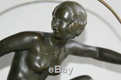 Old Art Deco Bronze In Hoop Dancer Signed Andre Bouraine H 47.5 CM