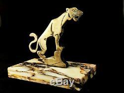 Old Automobile Mascot Signed Binmoran Bronze Art Deco Tiger 1930