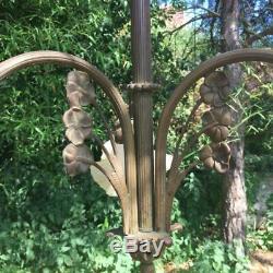 Old Bronze Chandelier Glass Tulip (the 1930s), Vintage Art Deco