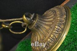 Old Ceiling Pendant Chandelier Bronze Glass Style Louis XV Philippe Tulip