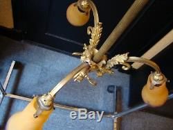 Old Chandelier Art Deco Gilded Bronze 3 Tulip Glass Paste Signed Muller Luneville
