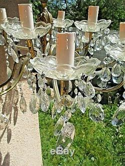 Old Large Louis XV Chandelier With Crystal Pendants And Gilded Bronze-12 Branches