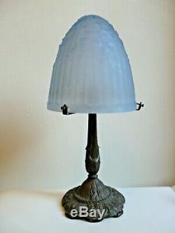 Old Mushroom Lamp Art Deco Glass Dome Foot Bronze Blue Mold Press
