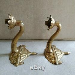 Old Pair Bronze Signed Applies Monogrammed Rd 1925 Art Deco