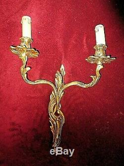 Old Pair Of Wall Sconces Louis XVI Ormolu-2 Plant Branches