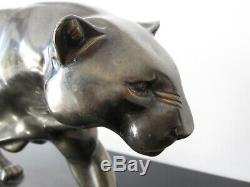 Old Rulas Large Sculpture Panther. Regulates Patina Bronze. Art Deco
