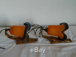 Old Wall Of Pair Art Deco Bronze With Tulip Glass Paste Signed