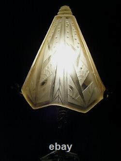P. Maynadier And Muller Lamp Art Deco Bronze Nickeled - Pressed Glass Shell 1930