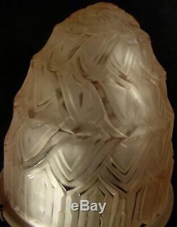 P. Maynadier Great Lamp Art Deco Bronze Nickel & Glass Pressed Obus 1930