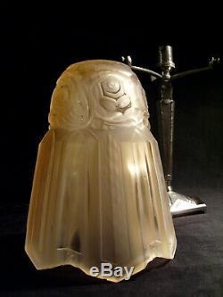 P. Maynadier Lamp Art Deco Bronze And Nickel Obus Pressed Glass 1930