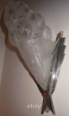 Pair Applies Art Deco Glass 1930 Degué Silver Bronze Foot 2 Paires Possible