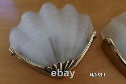 Pair Applique Antique Shell Art Deco Style 1970 Glass And Vintage Bronze
