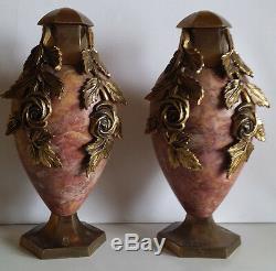 Pair Cassolettes Marble And Bronze Art Deco