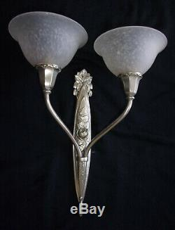 Pair Dappliques Lamp Art Deco Bronze Silver Tulips Charles Schneider