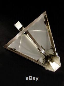 Pair Dappliques Modernist Art Deco Bronze Nickel Plate Glass & Shortbread