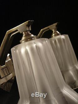Pair Dappliques Petitot Modernist Art Deco Bronze Pressed Glass Nickel &