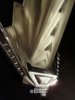 Pair Dappliques Petitot Modernist Art Deco Chrome And Bronze Pressed Glass