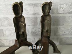 Pair Of Andirons Bronze Art Deco 1930 Signs Anton Prinner Model Shaman
