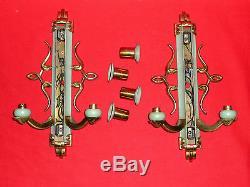 Pair Of Applied Gilt Bronze 1940 Art Deco Old Vintage Applies L 39,5cm