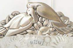 Pair Of Art Deco Doves Wall Genet & Michon Bronze Nickel 1930