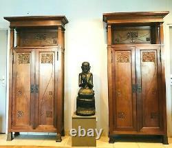 Pair Of Art Deco Mahogany Libraries Massive Bronze Ring At The Feet. 20th Century