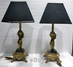 Pair Of Beautiful Lamps In Gilded Bronze Cherubs Putti Early Twentieth Century