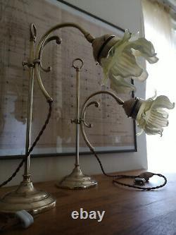 Pair Of Bronze Art Deco Lamp. Opalescent Tulip. Uranium, Vaseline Glass