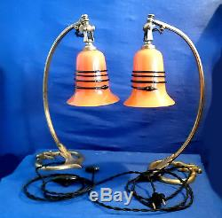 Pair Of Bronze Articulated Lamp Feet And Tulips Pte Art Deco Glass
