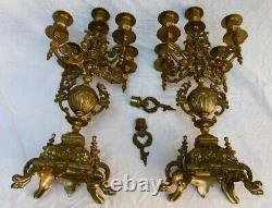 Pair Of Candelabras Of An Ancient Bronze Chimney Trim
