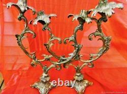 Pair Of Candlesticks Ancient Bronze Doré Art Nouveau Antiquity Deco XIX