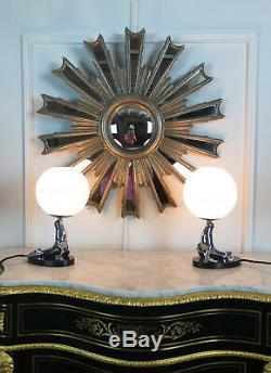 Pair Of Lamps Bronze Bronze Epoque Art Deco Sea Lion Shape Wooden Base