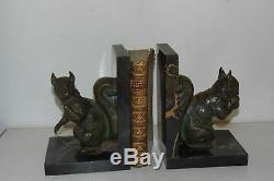 Pair Of Large Serres-books Antique Bronze. Signed René Papa. Early Twentieth