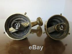 Pair On Sconces In Theater Art Deco Bronze And Glass Globe Massif Annees 30
