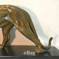 Panther In Bronze Patina Green Nuanced Gray Signed Leducq-art Deco