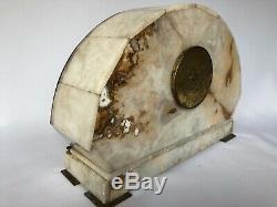 Pendulum Art Deco 1930 White Marble And Bronze Geometric Casserole With C2396