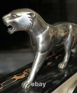 Pendulum Art Deco Marble And Bronze Panther Hugues French Clock