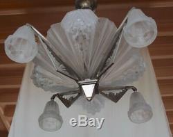 Petitot Grand Chandelier In Bronze And Glass Mold Press Argente Art Deco 1930