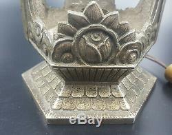 Pierre Gilles Foot Lamp Rare Art Deco Bronze Nickel 1930 Nickeled Lamp