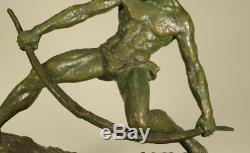 Pierre Le Faguays Archer Drawing His Bow Very Large Bronze Sign