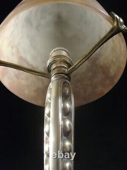 Puel-detot - Muller Brothers Lamp Art Deco Bronze Nickeled - Glass Pte Shell